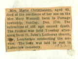 Obituary of Marie Christiansen