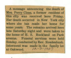 Obituary of Mrs. Perry Close