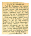 Obituary of Paul F. Genzman
