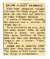 Obituary of Ralph August Bredbeck
