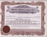 Multiplex Machinery Corp. Stock Certificate