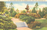 Volney Rogers Monument and Entrance to Mill Creek Park postcard