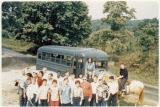 A busload of Buckeye Trail hikers, 1963. The trail winds for about 1,444 miles through Ohio from Lake Erie near Cleveland to the Ohio River near Cincinnati.
