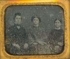 Two women and a man daguerreotype