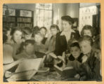 Mrs. Miller with children at Clintonville Library