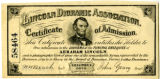 Lincoln diorama of certificate of admission