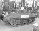 Women Riding on Tank in Civilian Defense Parade