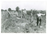 Lining up fence posts in Butler County, Ohio