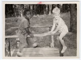 Boys playing on a footbridge