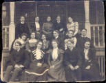 Hiram College Students Photograph on Steps of Bowler Hall