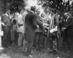 Calvin Coolidge and Mary Lee Shaking Hands Photograph